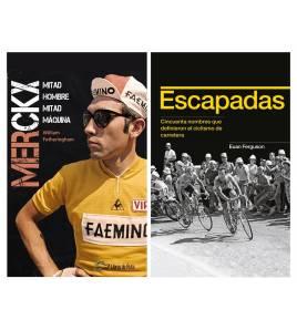 """Pack promocional """"Merckx. Mitad hombre, mitad máquina"""" + """"Escapadas"""" Packs en promoción  Libros de RutaLibros de Ruta"""