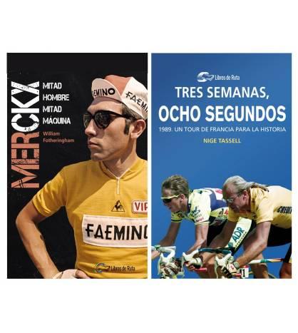 """Pack promocional """"Merckx.Mitad hombre, mitad máquina"""" + """"Tres semanas, ocho segundos"""" Packs en promoción Libros de Ruta"""